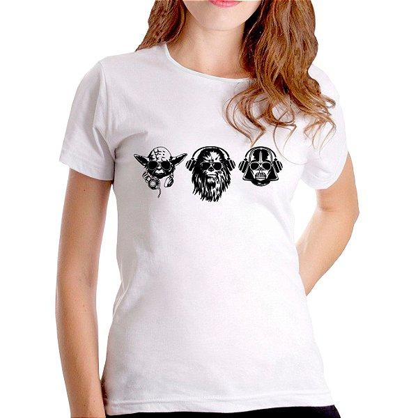 T-Shirt Yoda, Chewbacca e Darth - Feminina