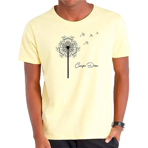 Camiseta Dente-de-Leão Carpe Diem - Masculina - AZM+AM+ROSA