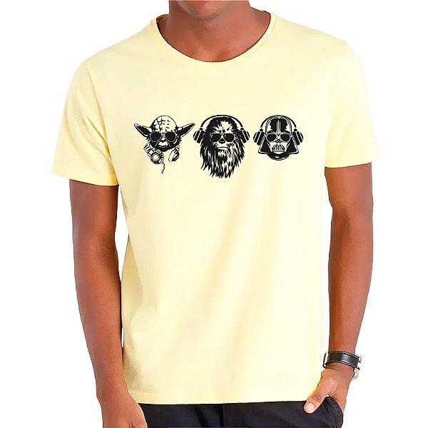 Camiseta Yoda, Chewbacca e Darth - Masculina - AZM+AM+ROSA