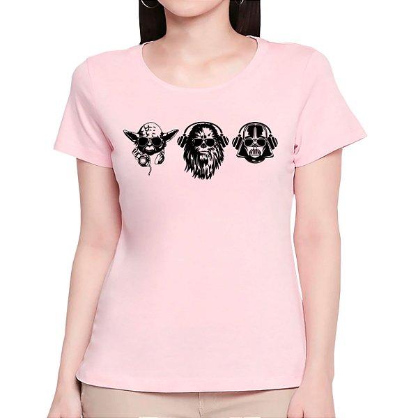 T-Shirt Trio das Galáxias - Feminina - AM+ROSA