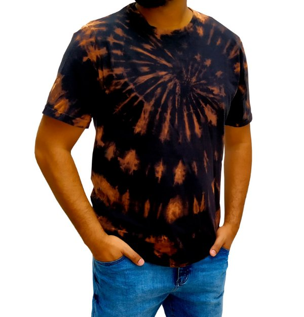 Camiseta Masculina - Preta - Tie Dye