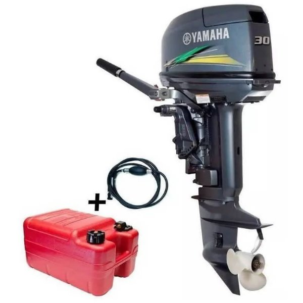 Motor de popa Yamaha 30 HP 2T + Kit partida elétrica Tornado - 0 Km