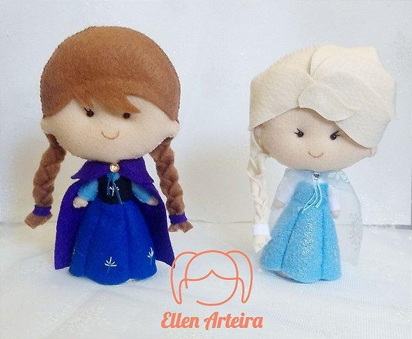 Boneca em Feltro Elsa e Anna - 15 cm