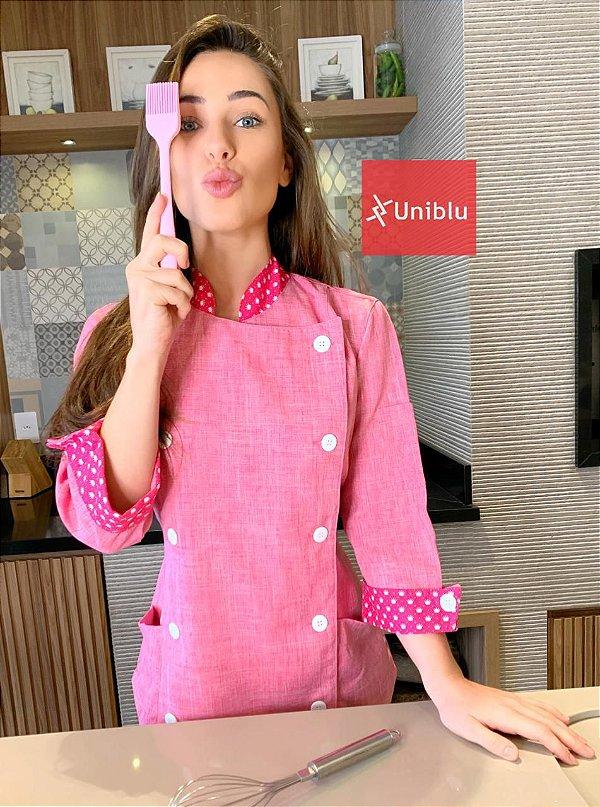Camisa Feminina Chefe Cozinha - Dólman Stilus Rosa Mescla- Uniblu
