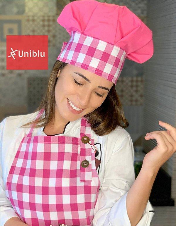 Touca chef - Xadrez Pink - Uniblu