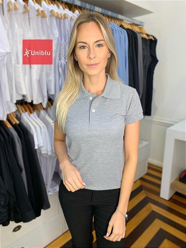 Camisa Polo Feminina Mescla - Uniblu