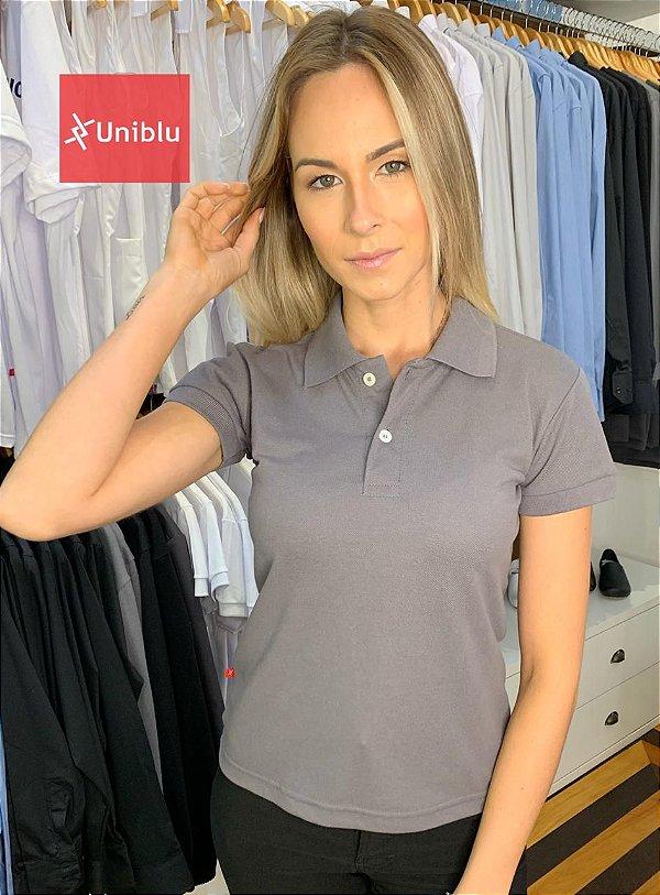 Camisa Polo Feminina Selênio Chumbo - Uniblu
