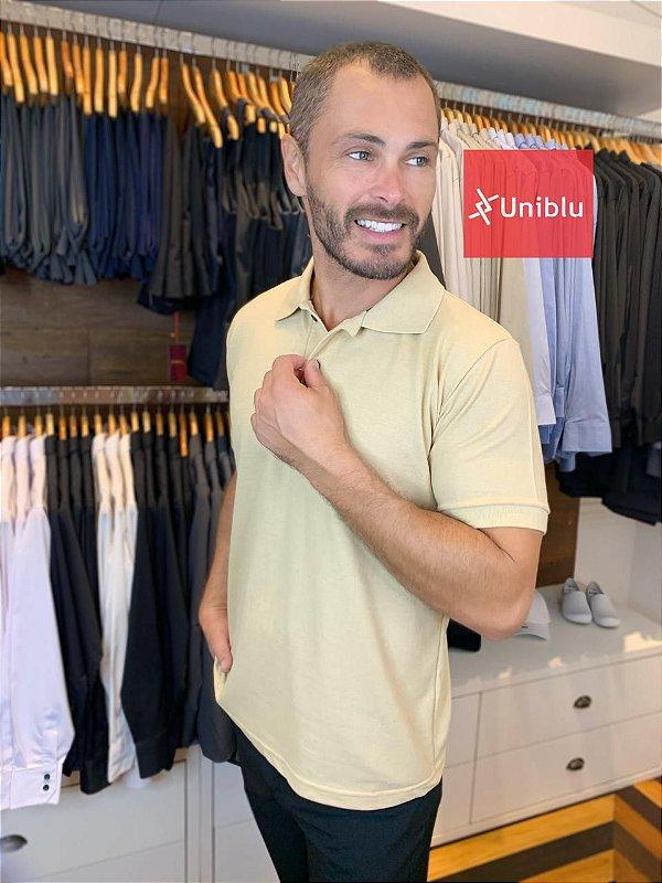 Camisa Polo Masculina Cor-Bege, Gelo Sava - Uniblu