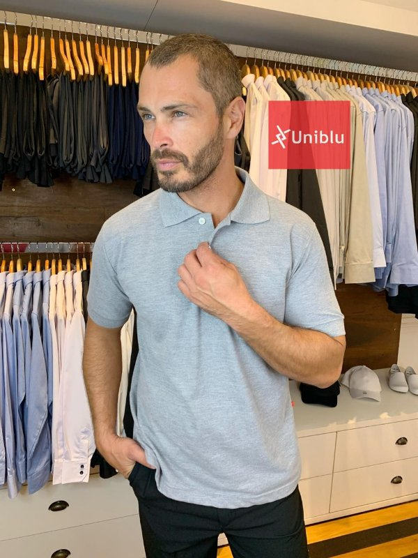 Camisa Polo Masculina Cinza Mescla - Uniblu