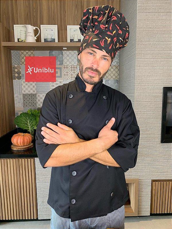 Camisa Chefe Cozinha - Dolmãn Stilus Black - Uniblu