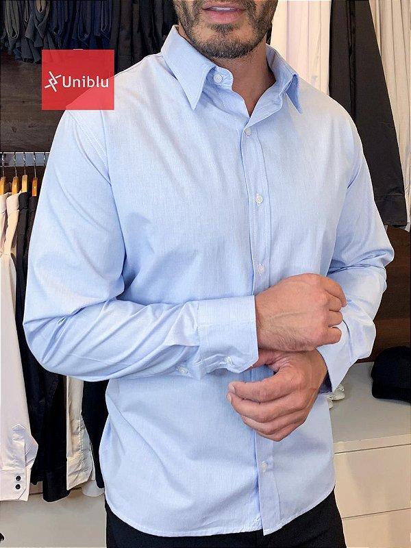 Camisa Social Masculina -  London Azul - Uniblu