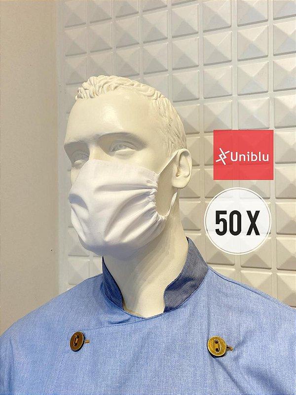 Kit com 50 Mascaras, Tecido Duplo Algodão - Uniblu
