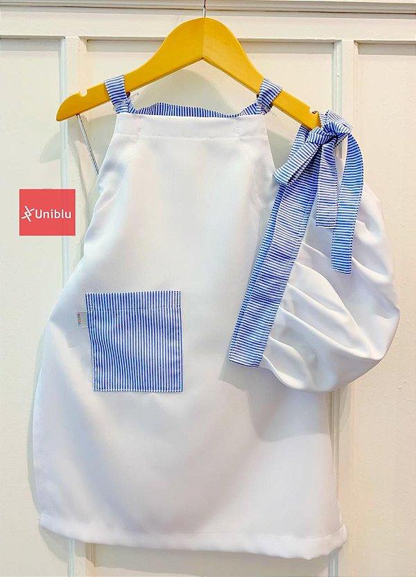 Conjunto - Avental + Gorro Infantil Unikids - Branco Com Detalhes Em Listras  - Uniblu