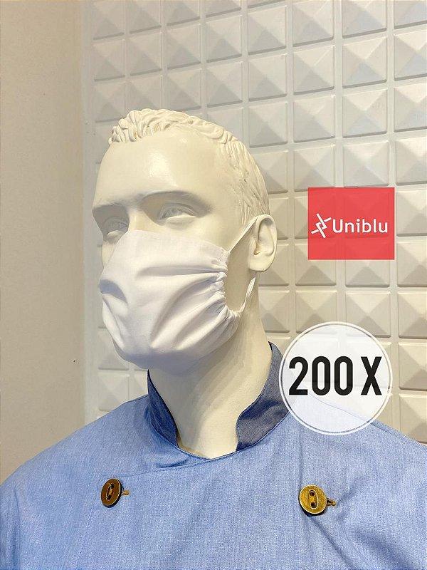 Promoção: R$ 1,80 a unidade -  Kit com 200 Mascaras, Tecido Duplo Algodão -  Uniblu