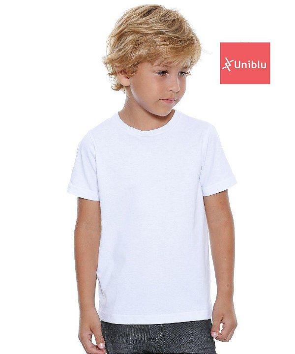 Camiseta Malha Infantil cor- Branca Unikids - Uniblu
