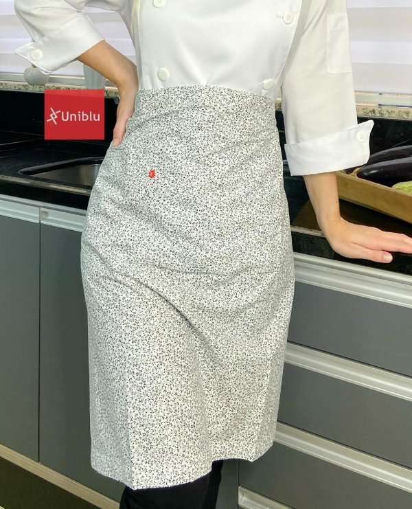 Avental Cintura Meia Saia -  Floral Branco - Uniblu