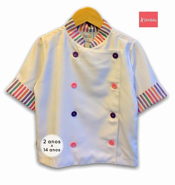 Camisa Chefe Infantil - Dolman Infantil - Listras Coloridas - Unikids