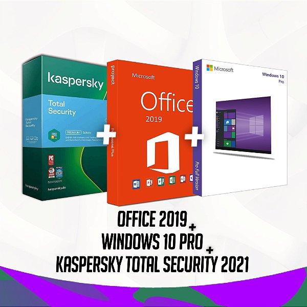 Kaspersky Total Security 2021 + Office 2019 + Windows 10 Pro - 32/64 Bits - Licença Vitalícia + Nota Fiscal