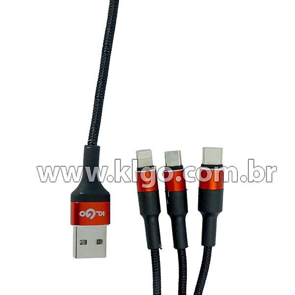 Cabo USB KLGO S688 3 em 1  para Dados e Carregamento