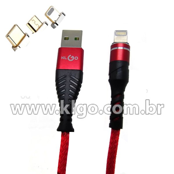 Cabo USB KLGO S57 iOS iPhone Para Dados e Carregamento