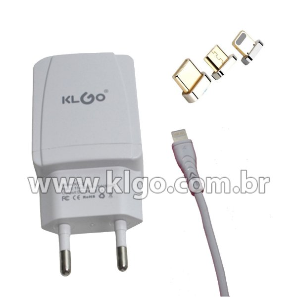 Carregador KLGO KC2 iOS iPhone (Cabo + Tomada)