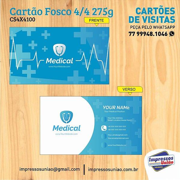 CARTÕES DE VISITA COUCHÊ 275G SEM VERNIZ - 4X4 - 100unid