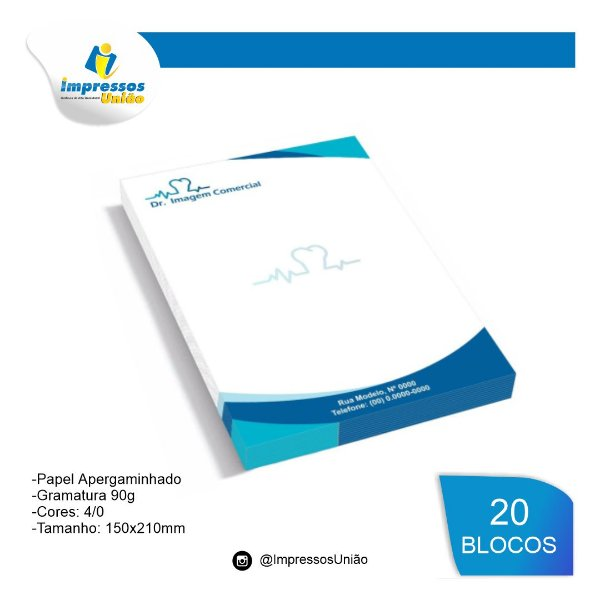RECEITUARIOS APERGAMINHADO 90G 150X210MM - 4X0 - 500unid 20 blocos
