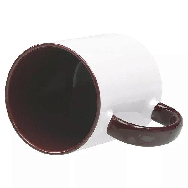 Caneca com alça e interior marrom para sublimação 325 ml  - Marca Live