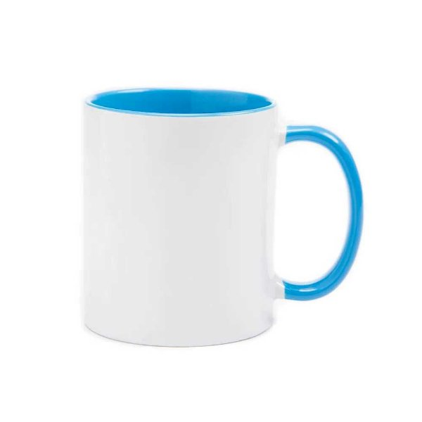 Caneca com alça e interior azul claro para sublimação 325 ml  - Marca Live