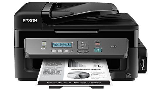 Impressora Epson WorkForce M205 Monocromática Completa com wifi e fax acompanha 600ml de tinta corante preta
