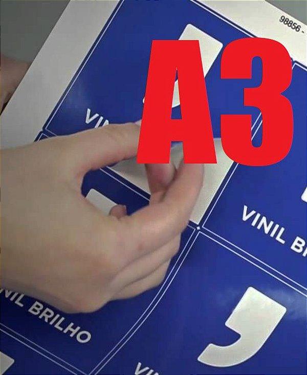 Papel sublimático adesivo VINIL BRANCO A3  - 5 folhas