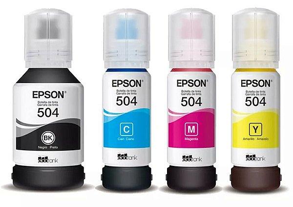 Kit com 4 cores de tinta original EPSON T504 - MOD.  L4150 | L4160 | L6161 | L6171 | L6191