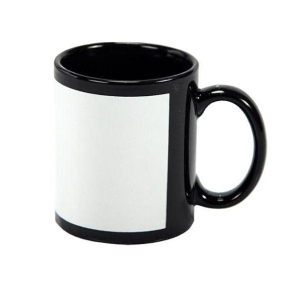 Caneca preta com tarja branca para Sublimação - CANECA SUBLIMÁTICA AAA