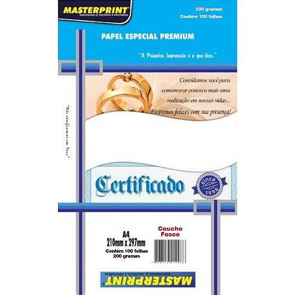 Papel especial couche fosco MasterPrint 200g A4 - 100 folhas