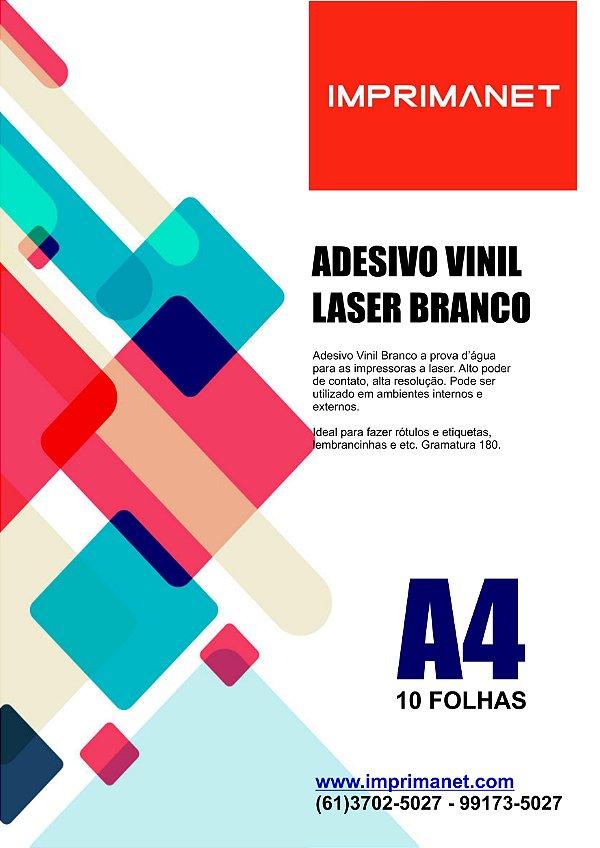 Papel Vinil Adesivo Branco A4 a Laser  - Pacote com 10 folhas.