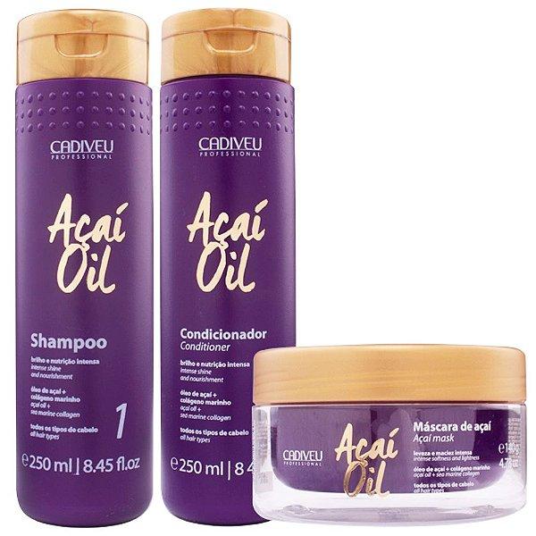 Kit Cadiveu Açaí Oil 1 Shampoo + 1 Condicionador + 1 Máscara Hidratante