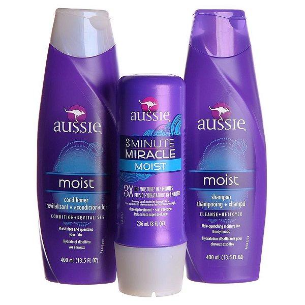 Kit Aussie Moist 1 Shampoo + 1 Condicionador + 1 Máscara
