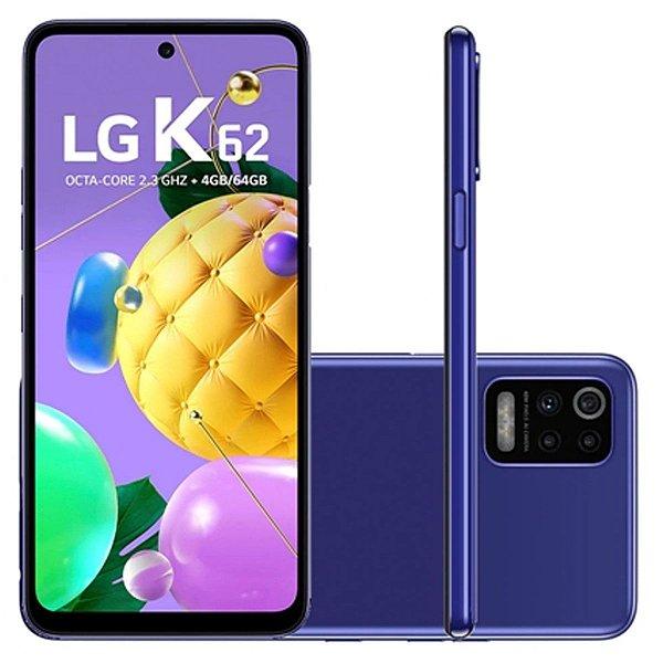 """Smartphone K62 Azul, com Tela de 6,59"""", 4G, 64GB e Câmera Quádrupla de 48MP+5MP+2MP+2MP (LMK520BMW) - LG"""