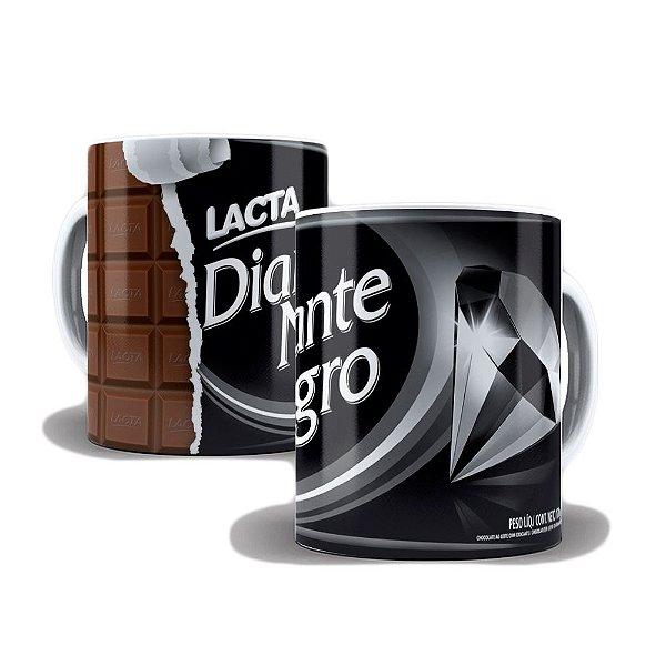 Caneca de Porcelana 325ml Personalizada Barra de Chocolate Diamante Negro