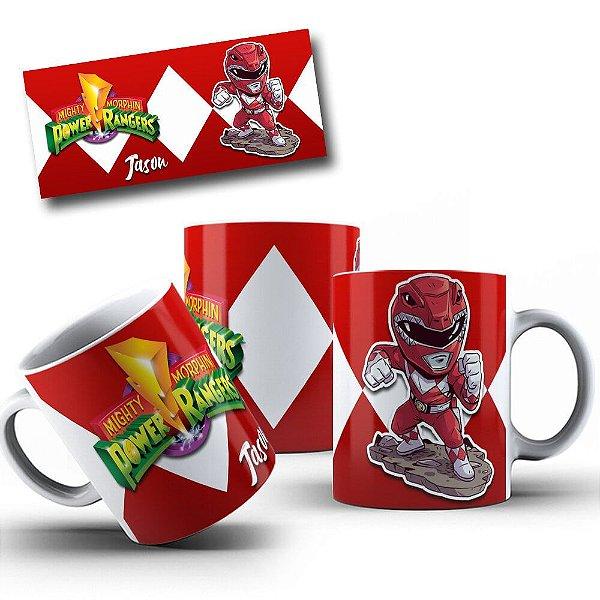Caneca de Porcelana 325ml Personalizada Jason Power Rangers Vermelho