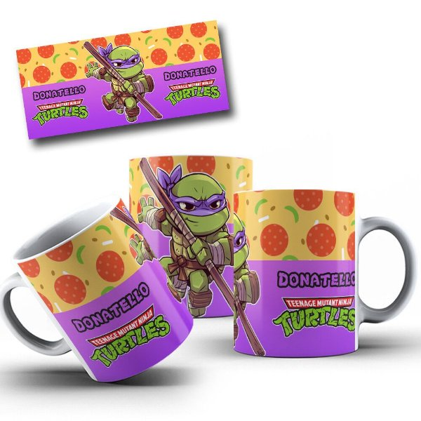 Caneca de Porcelana 325ml Personalizada Tartarugas Ninja Donatello