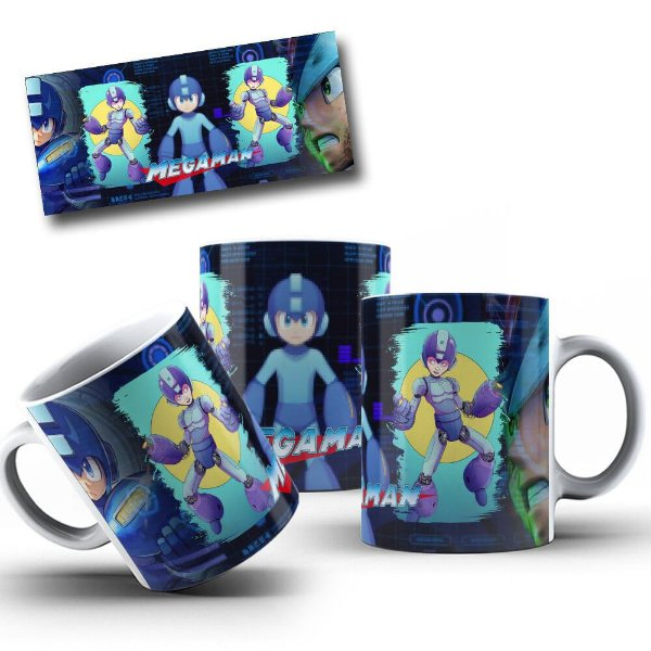 Caneca de Porcelana 325ml Personalizada Megaman