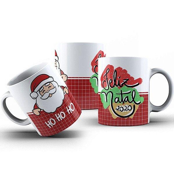 Caneca de Porcelana 325ml Personalizada Ho Ho Ho Feliz Natal