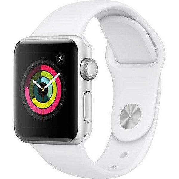 Apple Watch Série 3 42mm (gps) Prova D'água Prata Com Pulseira Branca