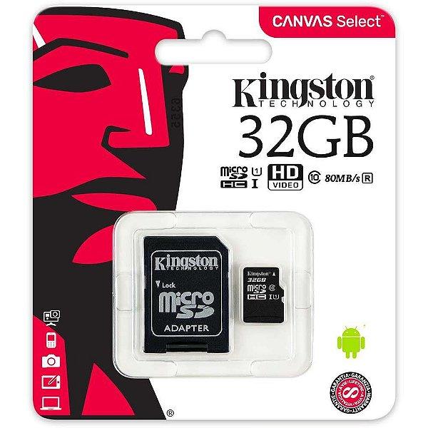 Cartão de Memória 32GB Micro SD c/ Adapt SD - Kingston