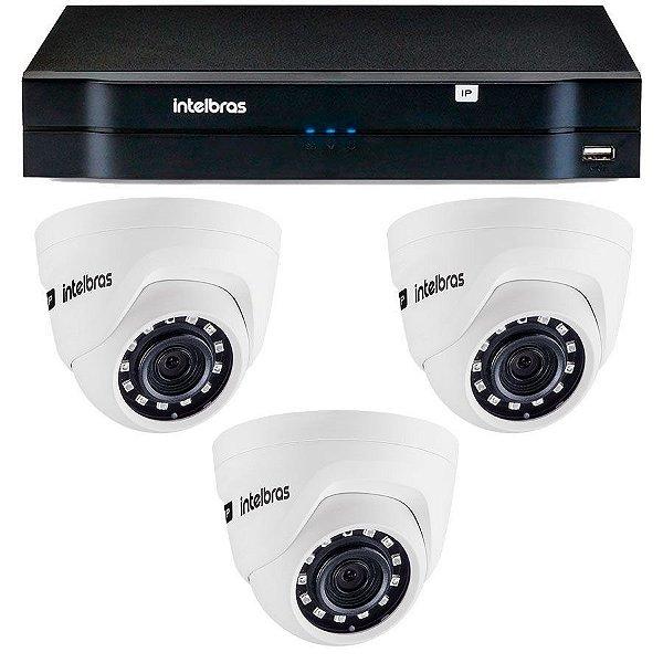 Kit 03 Câmeras IP HD 720p Intelbras VIP 1020 D + NVD 1204