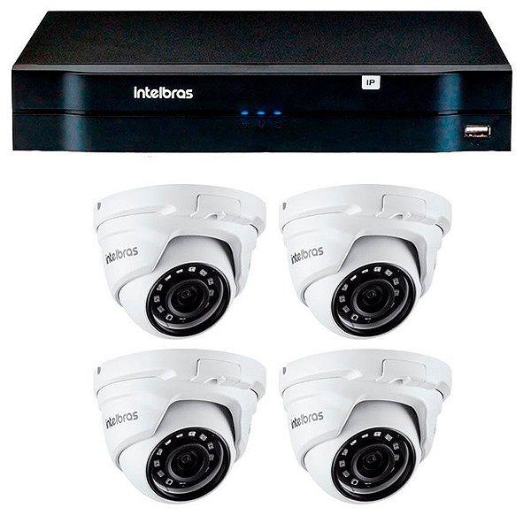 Kit 04 Câmeras IP Full HD Intelbras VIP 1220 D G3 + NVD 1204