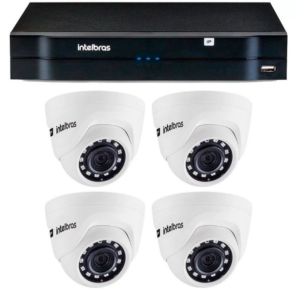 Kit 04 Câmeras IP HD 720p Intelbras VIP 1020 D + NVD 1204