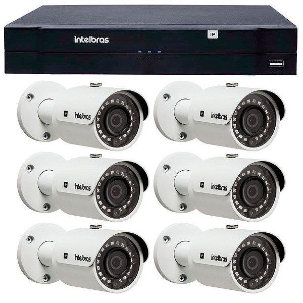 Kit 06 Câmeras de Segurança IP 1Mp HD 720p Intelbras VIP S 3020 G3 + NVD 1208 Intelbras