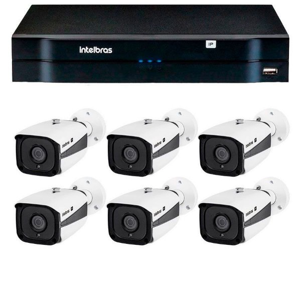Kit 06 Câmeras IP Full HD Intelbras VIP 1220 B G3 + NVD 1208